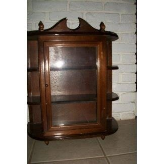 Vintage Wooden Curio Cabinet Display Case Wall Mount Gl Door