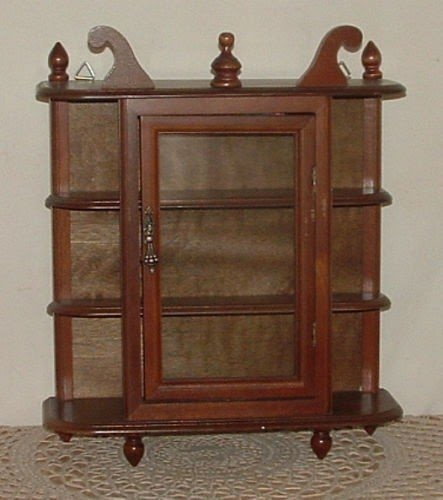 Bon Vtg Small Wood Glass Curio Cabinet Wall Mount Hang Table