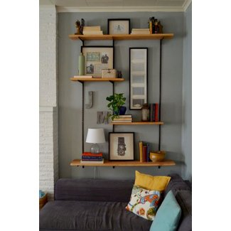Wall mounted wood shelves