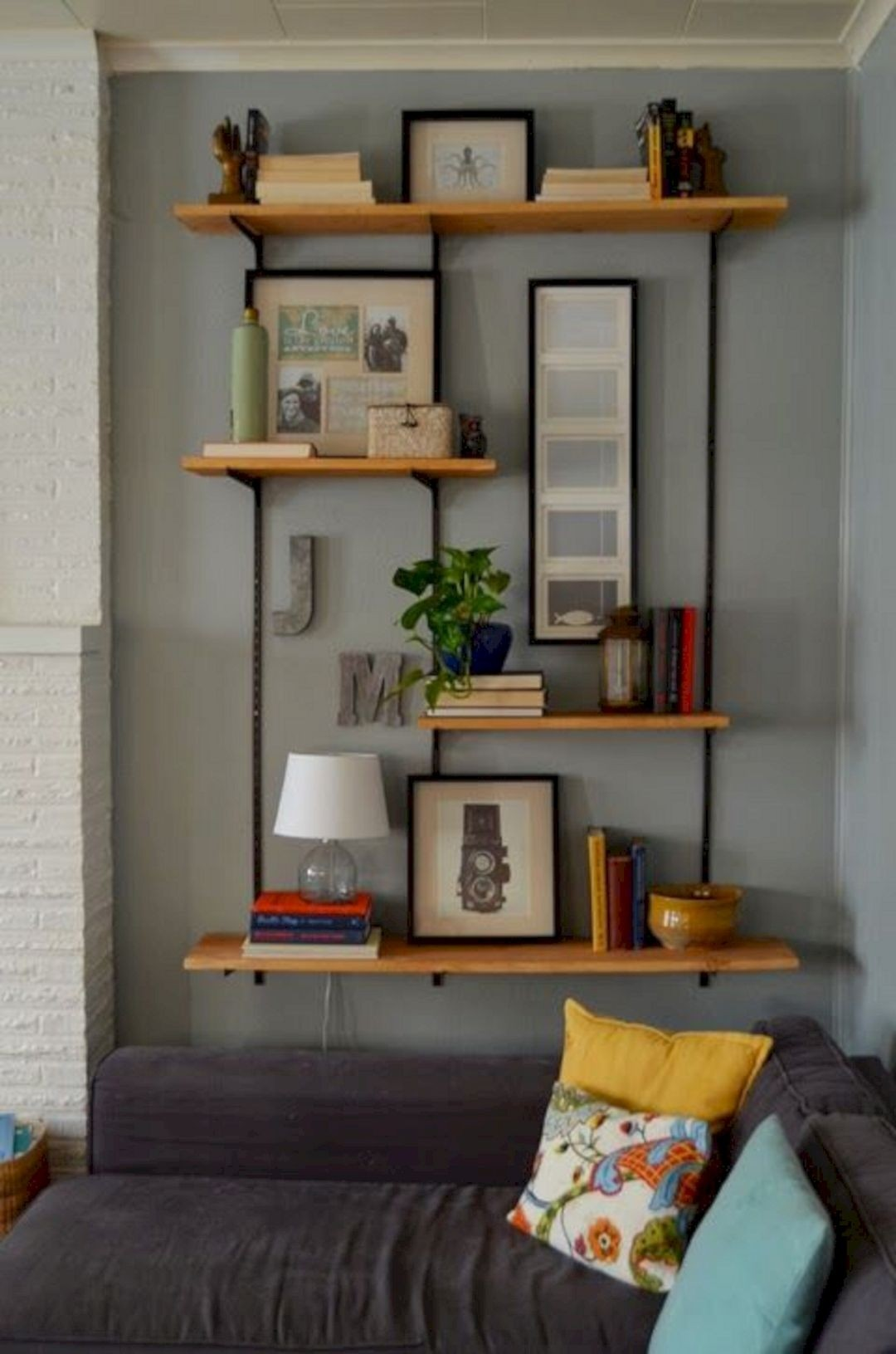 Wall Mounted Wood Shelves. Add Your Living Room ...
