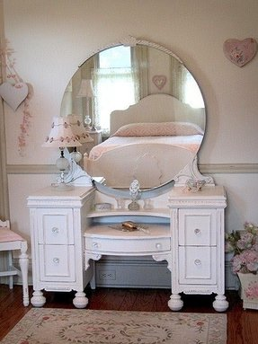 White vanity table with mirror and bench