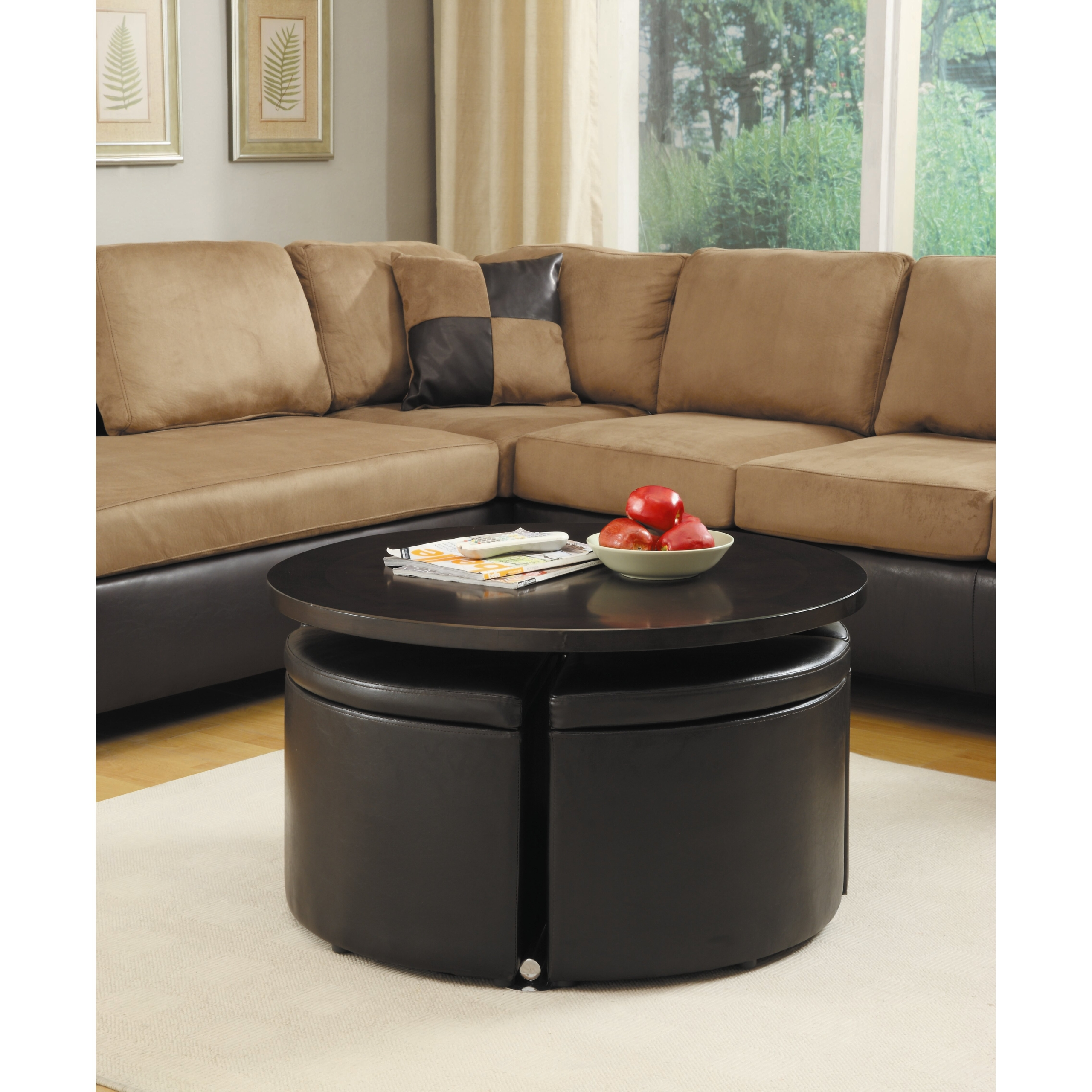Woodbridge Home Designs Rowley Gas Lift Coffee Table With Ottomans