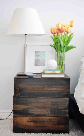 Wooden crate end table