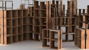 Wooden cube bookcase 21