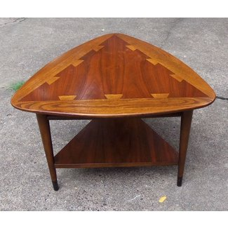 1966 mid century walnut lane triangle end table w ash