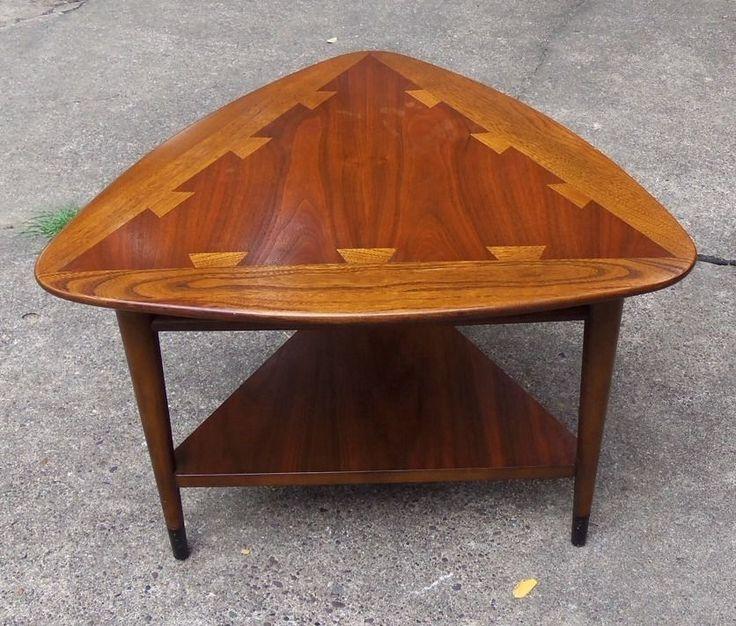 1966 Mid Century Walnut Lane Triangle End Table W Ash