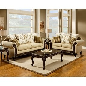 2 Pc Doncaster Collection Desert Sand Clic Style Sofa And Love Seat Set With Wood Trim