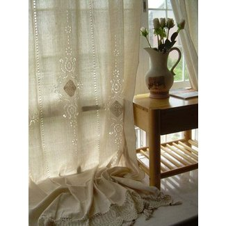 2 x tab top french country cotton linen
