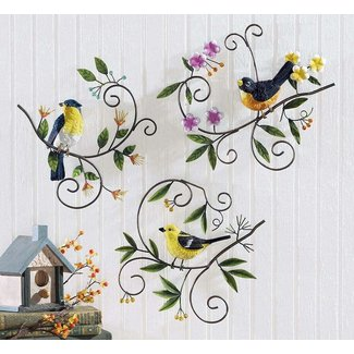 3 Piece Whimsical Spring Bird Floral Branches Metal Hanging Wall Art Kitchen Sun Room Patio Home Accent Decor Set