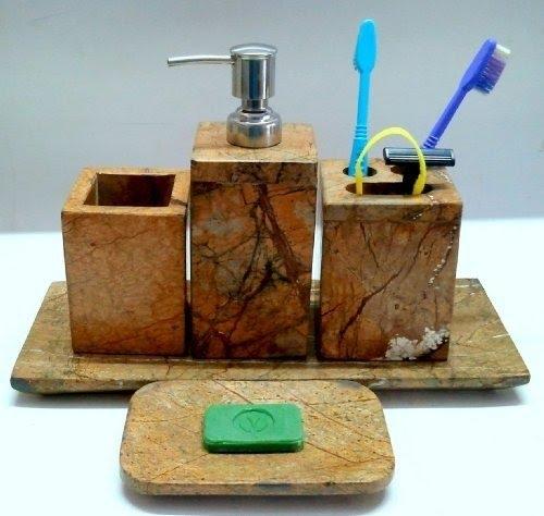 5 Pieces Set Indian Natural Marble Stone Toilet Bathroom Bath Set  Accessories