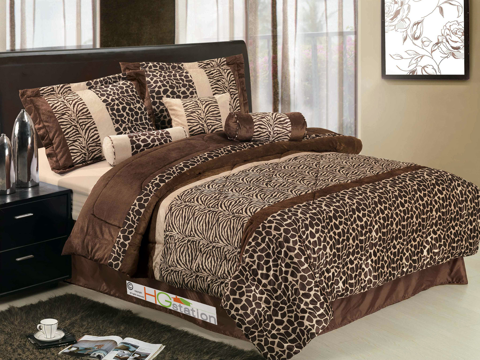 7 Piece Safari - Zebra - Giraffe Print Brown Micro Fur Comforter Set, Bed in Bag, King Size