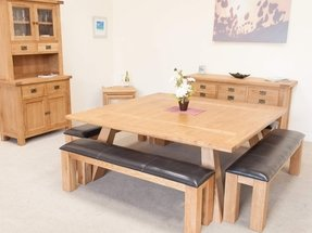 Square 8 seater dining table foter 8 seater oak dining table watchthetrailerfo