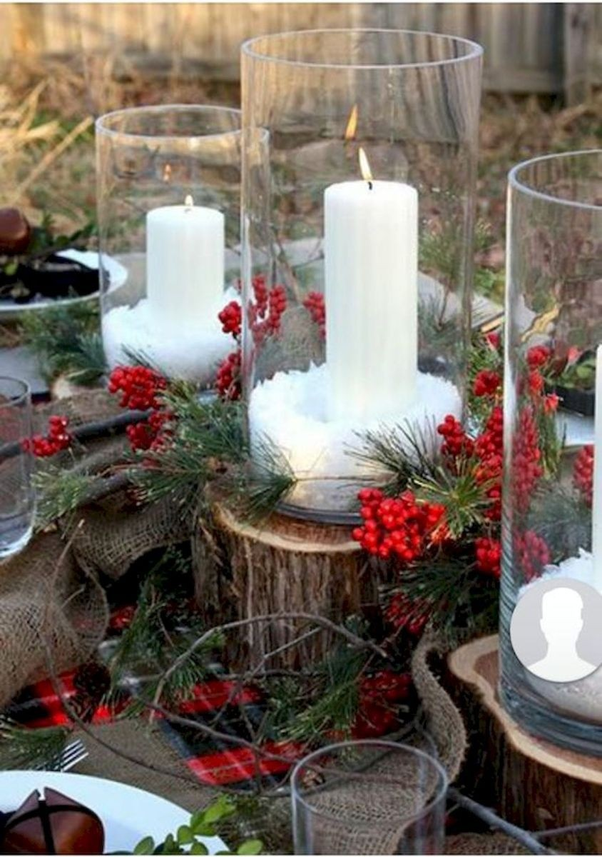 Holiday Decor Christmas Table Centerpiece Pine Artificial with 3 Candles