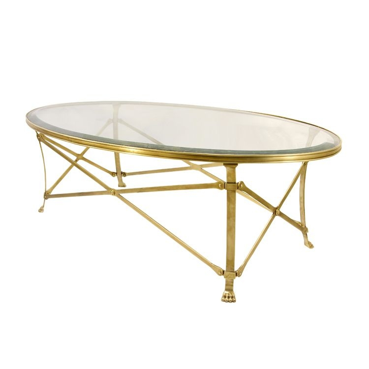 Attractive Natural Brass Oval Coffee Table 12mm Clear Glass Bevel