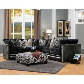 Bacardi 4 piece black bicast leather and fabric oversized sectional
