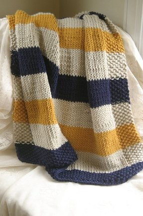Blue cream and yellow striped baby