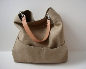 Bucket tote hobo tote linen tote bag