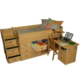 Captain bed with drawers