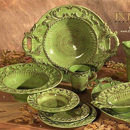 French olive dinnerware 3 : green plate set - pezcame.com