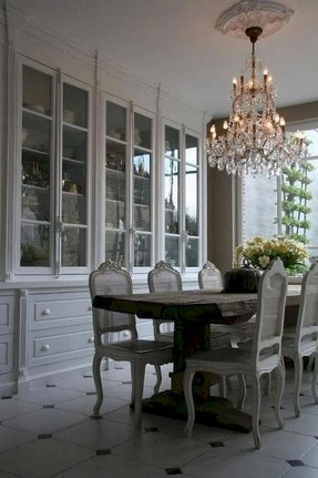Huge Built In China Cabinet The Grayish White Tones