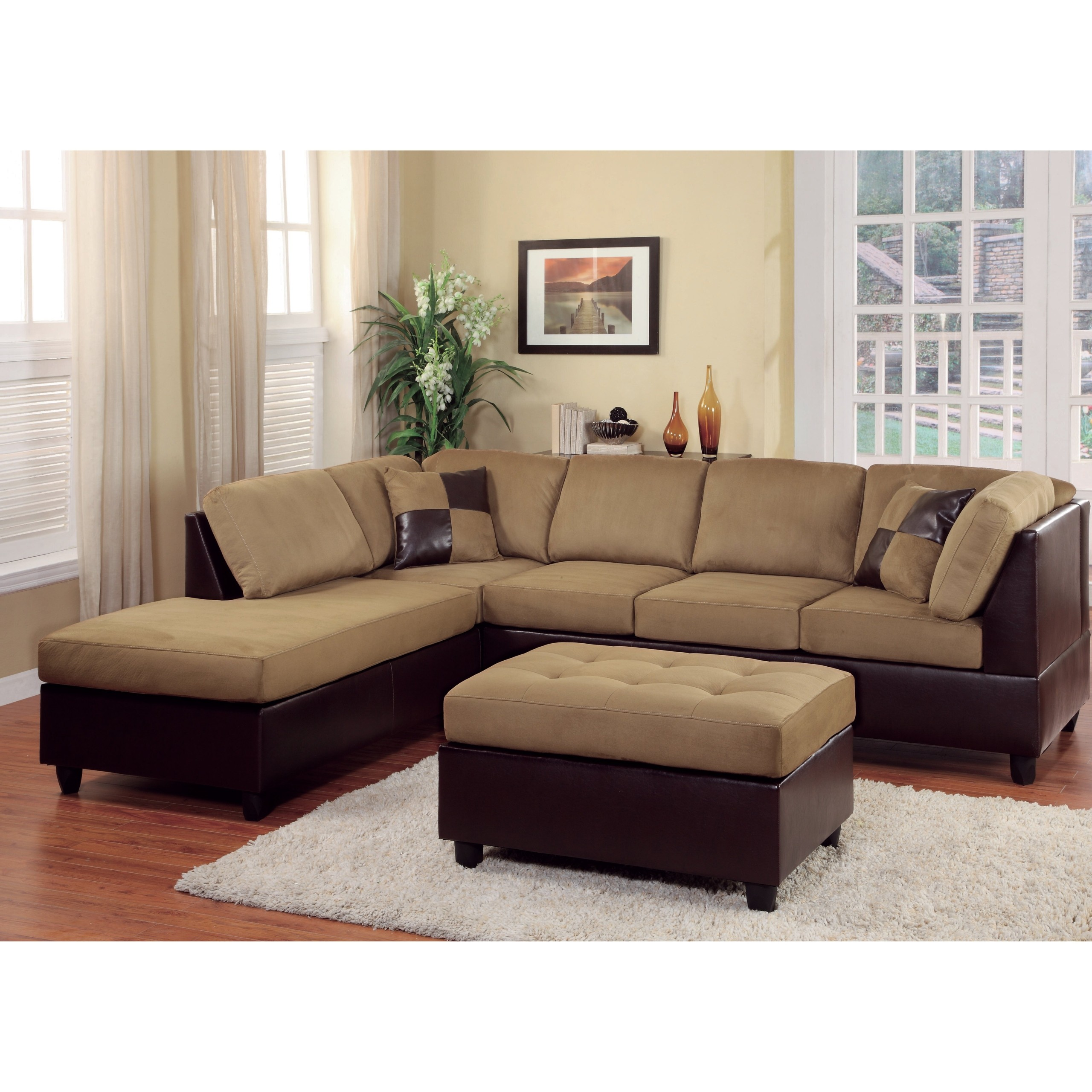 Leather And Fabric Sectional Sofa In Family Room