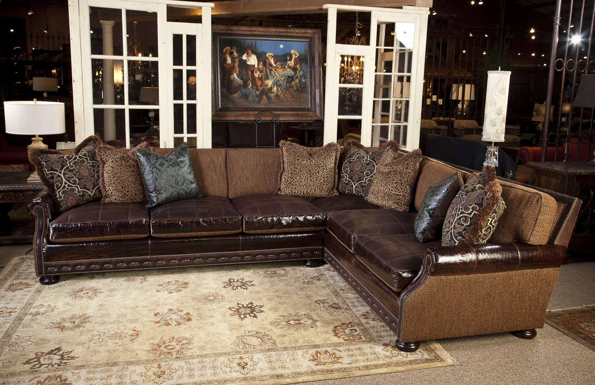 Leather And Fabric Sectional Sofas Foter