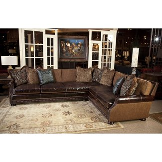 Leather And Fabric Sectional Sofas 1