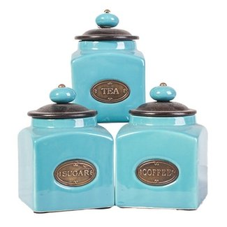Light blue kitchen canisters