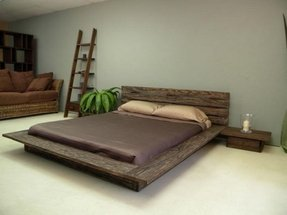 Low wood bed frame