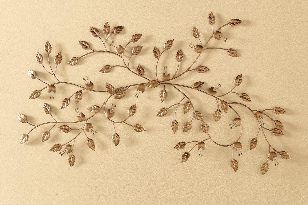 Metal Gilded Leaf Wall Art Decor
