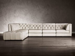 Nailhead leather sectional