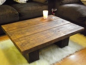 New dark solid pine wood coffee table chunky rustic plank