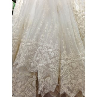 Off white lace fabric retro embroidered