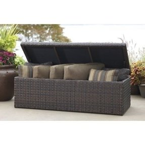 Outdoor wicker storage bench 2