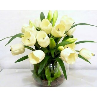 Real touch white tulip artificial flower