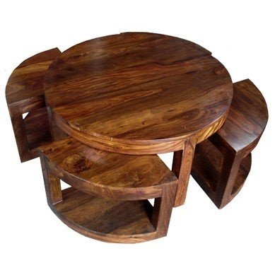 Round Coffee Table With Stools 1