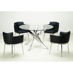 Round glass top chrome 5 piece dining set 3