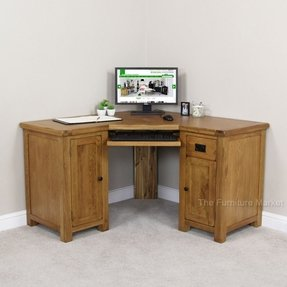 Rustic oak corner desk