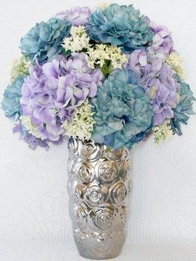 Hydrangea silk flower arrangements foter artificial flower arrangement teal peonies lavender hydrangea silver vase with rosettes silk flower arrangement silk floral arrangement mightylinksfo