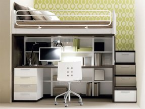 Single bed with desk and storage