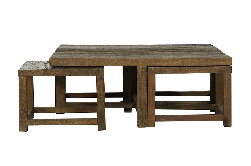 Superbe Square Coffee Table With Stools Underneath 1