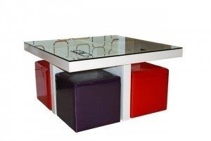 Merveilleux Square Coffee Table With Stools Underneath