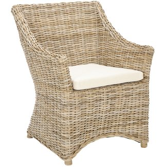 St thomas indoor wicker washed out brown wing back arm