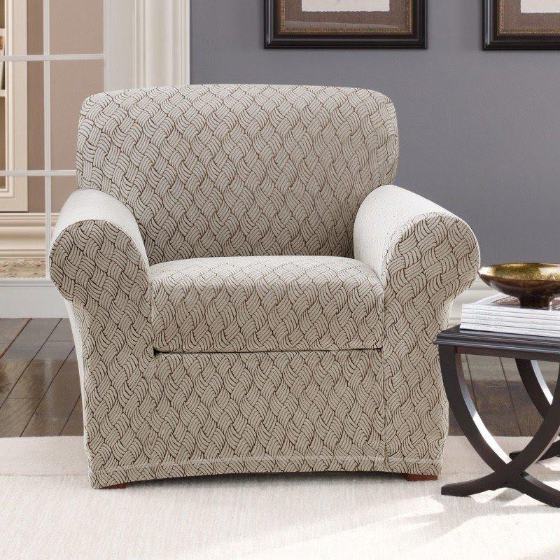 Merveilleux Stretch Braid Club Chair Slipcover