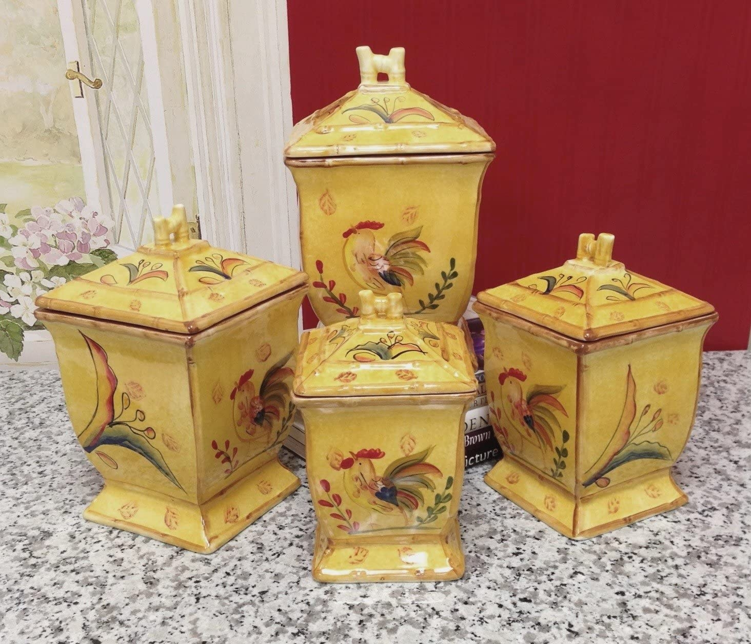 Superior Sunshine Rooster Collection Hand Painted 4 Piece Kitchen Canister Set