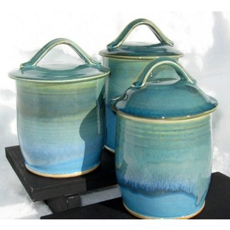 Three canister set in shades of