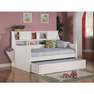 Trundle bed with bookcase headboard 1