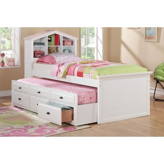 Trundle bed with bookshelf