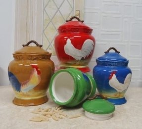 Tuscan Colorful Sunshine Rooster Hand Painted Ceramic Canisters, Set of 4, 87101 by ACK