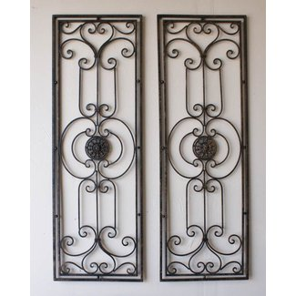 Tuscan Large Scrolling Wrought Iron Wall Grille Set